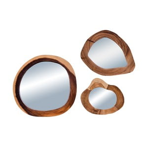 Sada 3 zrcadel z teakového dřeva House Nordic Madrid