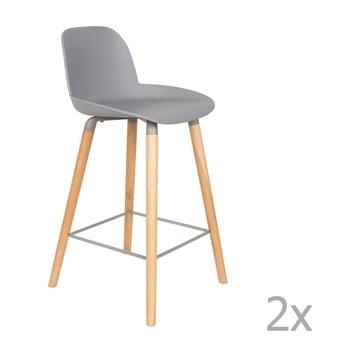 Set 2 scaune bar Zuiver Albert Kuip, înălțime scaun 65cm, gri deschis de la Zuiver