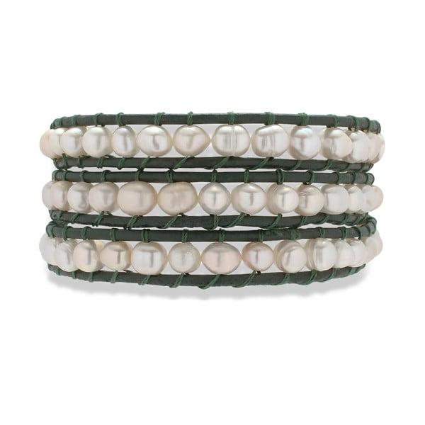 Černo-bílý kožený náramek s perlami Nova Pearls Copenhagen Néreus