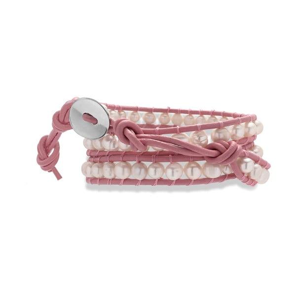 Růžový kožený náramek s perlami Nova Pearls Copenhagen Néreus