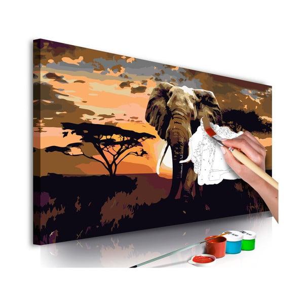 DIY set na tvorbu vlastného obrazu na plátne Artgeist Elephant Africa, 80 × 40 cm