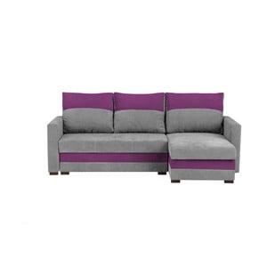 Šedo-fialová třímístná rohová rozkládací pohovka s úložným prostorem Melart Frida