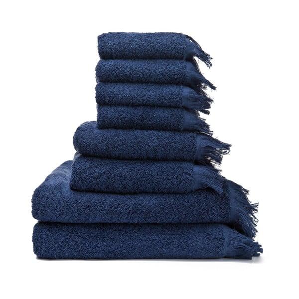Sada 6 modrých uterákov a 2 osušiek zo 100% bavlny Bonami