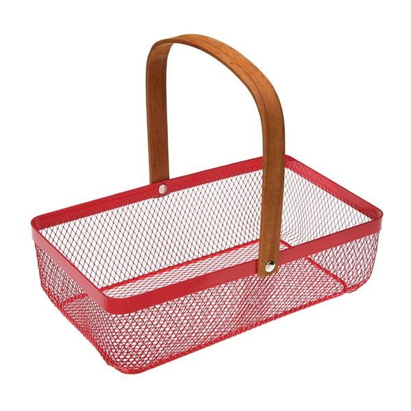 Červený kovový košík Versa