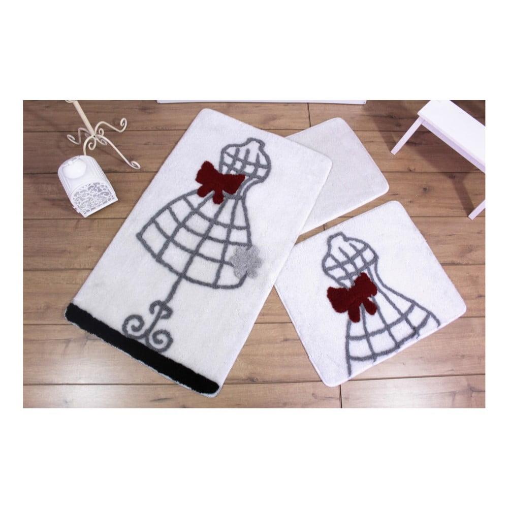 Sada tří bílých koupelnových předložek s motivem šatů Knit Knot 41862df5d4
