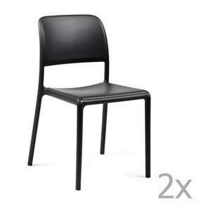 Sada 2 antracitových zahradních židlí Nardi Riva Bistrot