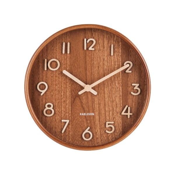 Brązowy zegar ścienny z drewna lipy Karlsson Pure Small