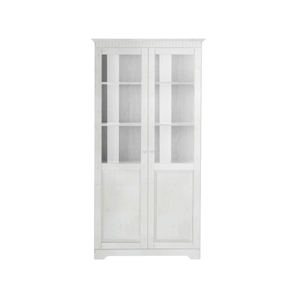 Bílá dvoudveřová vitrína z masivního borovicového dřeva  Støraa Caroline