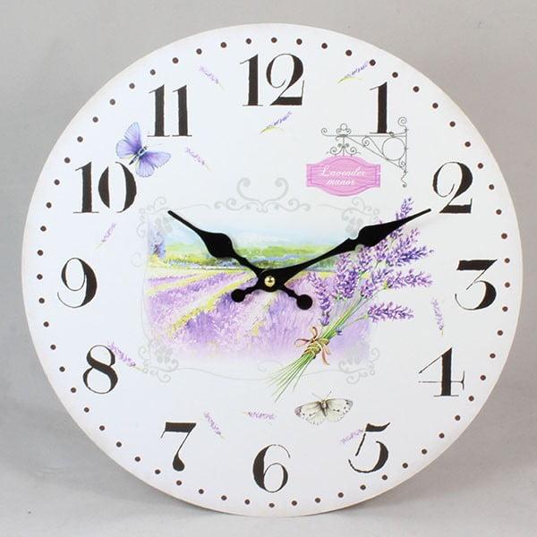 Dřevěné hodiny Lavender Field, 17 cm