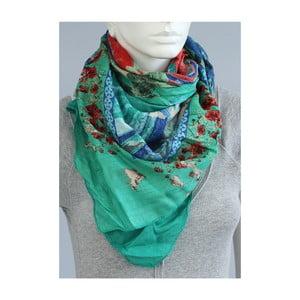 Zelený šátek s modrý a červeným akcentem