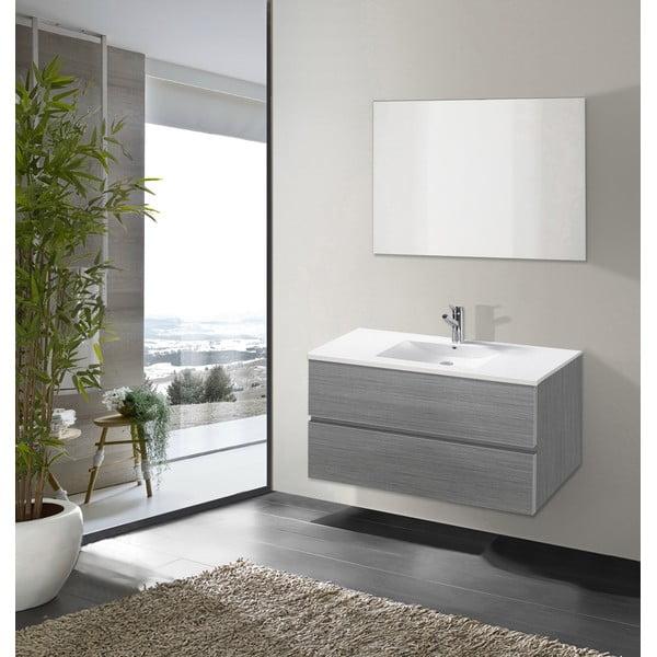 Koupelnová skříňka s umyvadlem a zrcadlem Flopy, odstín šedé, 90 cm