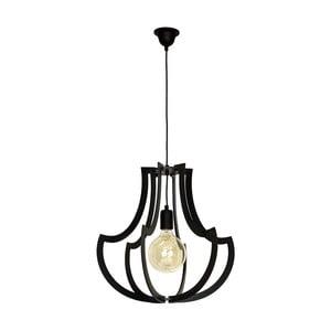 Černé závěsné svítidlo s dřevěným detailem Glimte Jura Horn