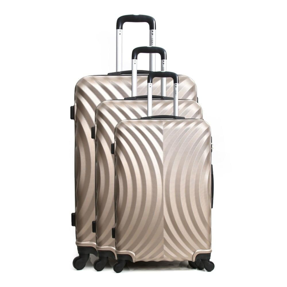 Sada 3 cestovních kufrů na kolečkách ve zlatobéžové barvě Hero Lagos