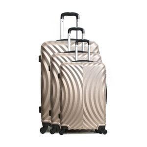 Sada 3 cestovních kufrů na kolečkách v barvě champagne Hero Lagos