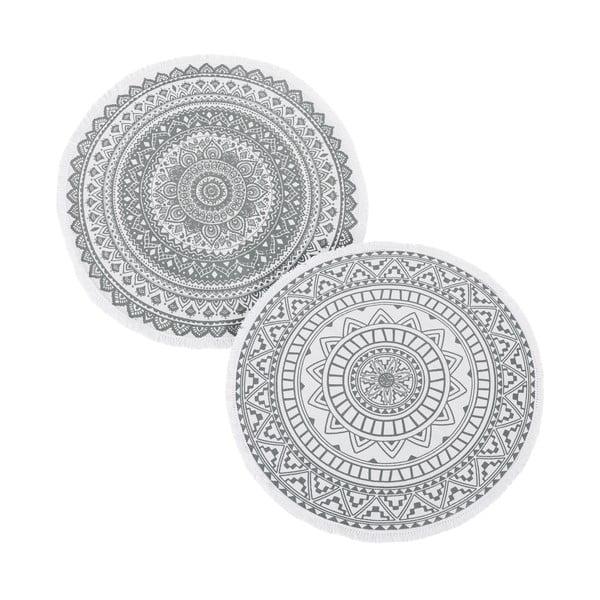 Sada 2 šedých kulatých koberců Unimasa, ⌀ 90 cm