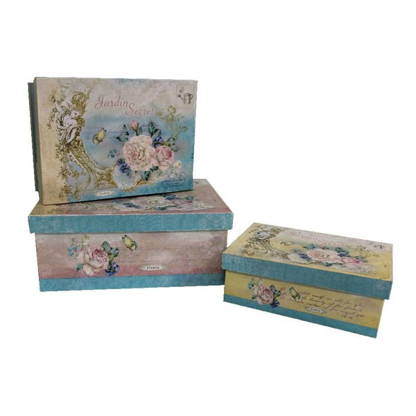 Sada 3 krabiček  AnticLineBlueVintage