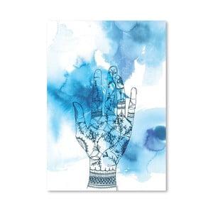 Plakát Blue Wash Hand, 30x42 cm