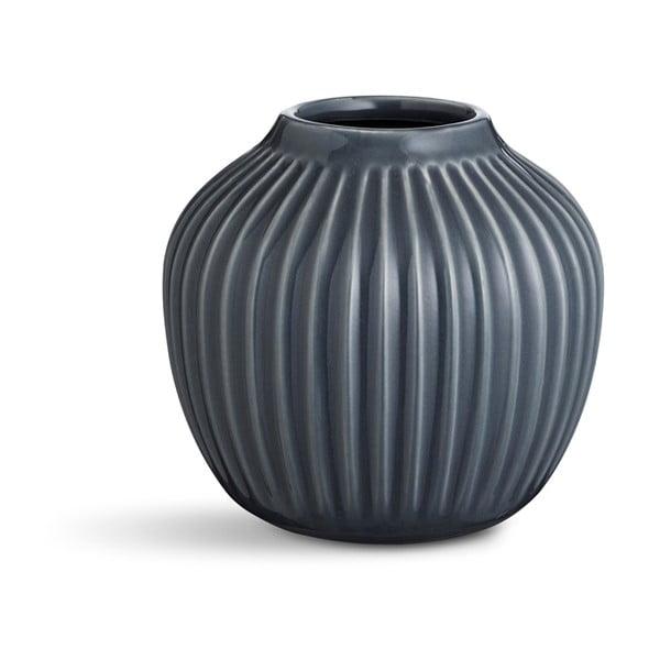Antracitová kameninová váza Kähler Design Hammershoi, výška 12,5 cm