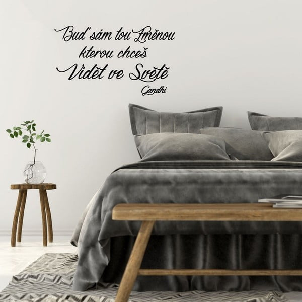 Samolepka na zeď s citátem Ambiance Gandhi Změna