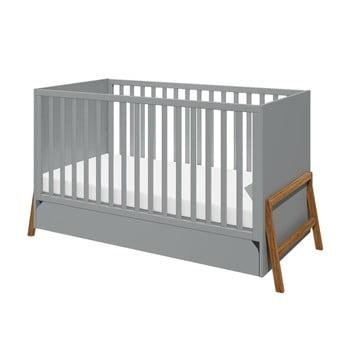 Pătuț pentru copii cu sertar BELLAMY Lotta,70x140cm, gri imagine