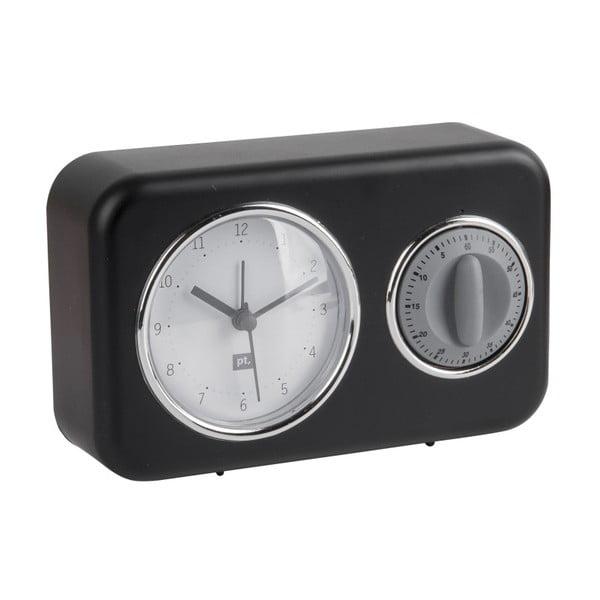 Czarny zegar z minutnikiem PT LIVING Nostalgia