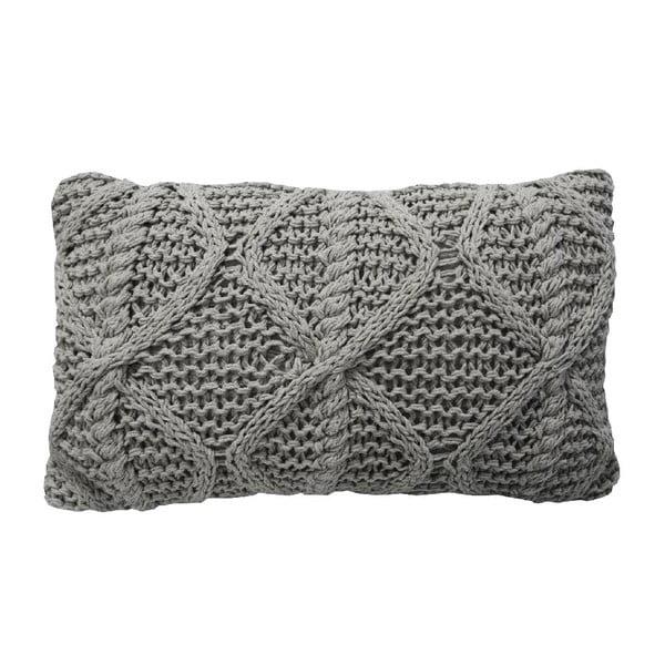Šedý pletený polštář OVERSEAS Diamond,30x50cm