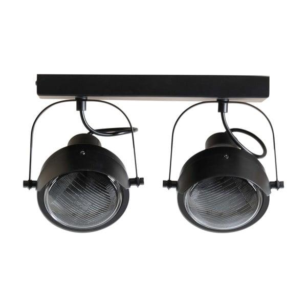 Čierne kovové stropné svietidlo s 2 svietidlami WOOOD Lester