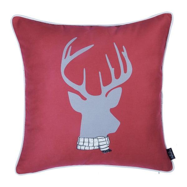Červená obliečka na vankúš s vianočným motívom Apolena Honey Deer, 45×45 cm