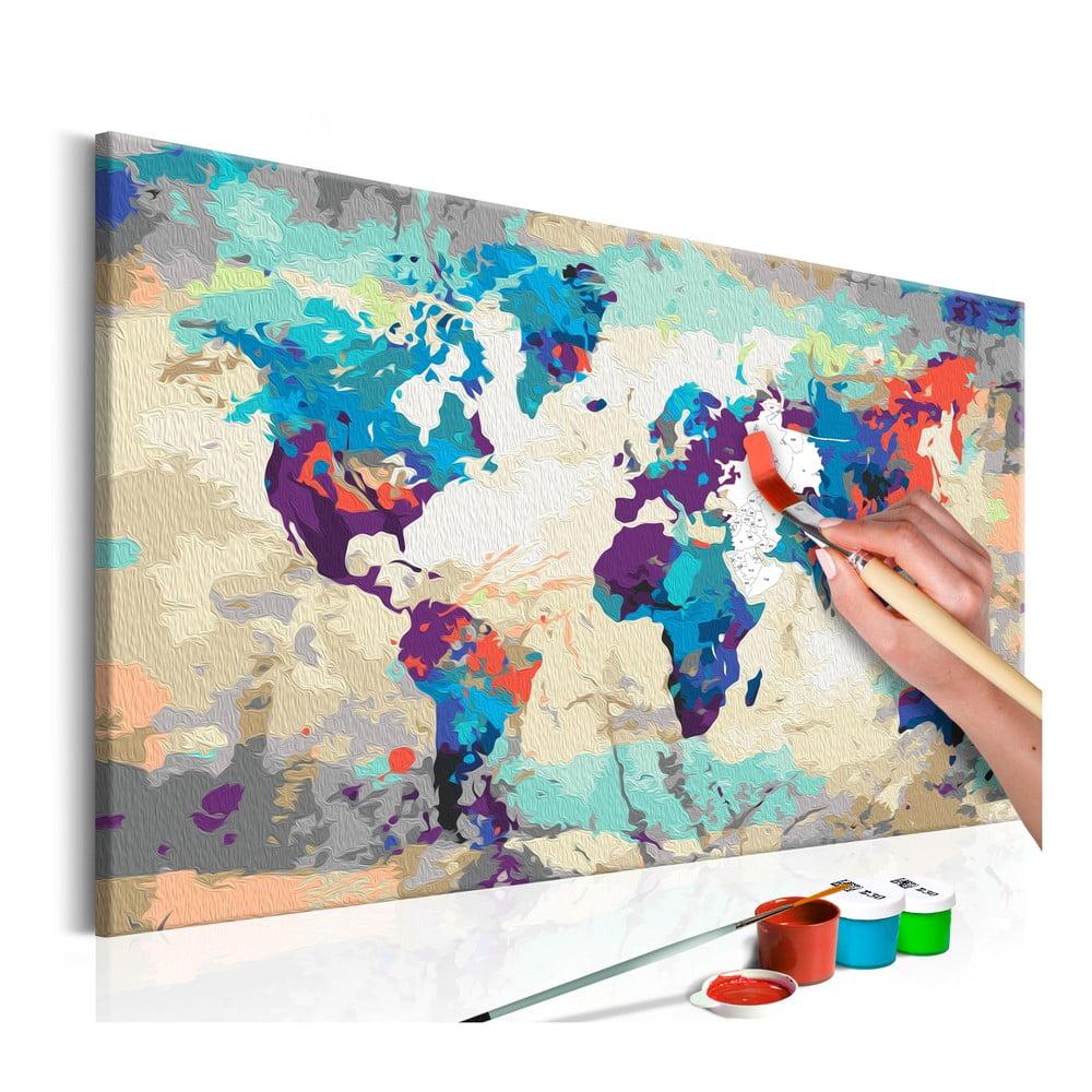 DIY set na tvorbu vlastního obrazu na plátně Artgeist World Map, 60 x 40 cm