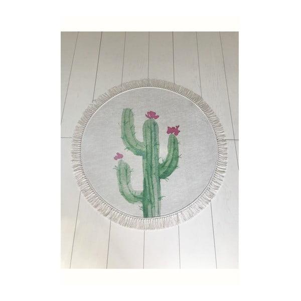 Tropica Cactus III fehér-zöld fürdőszobai kilépő, ⌀ 100 cm
