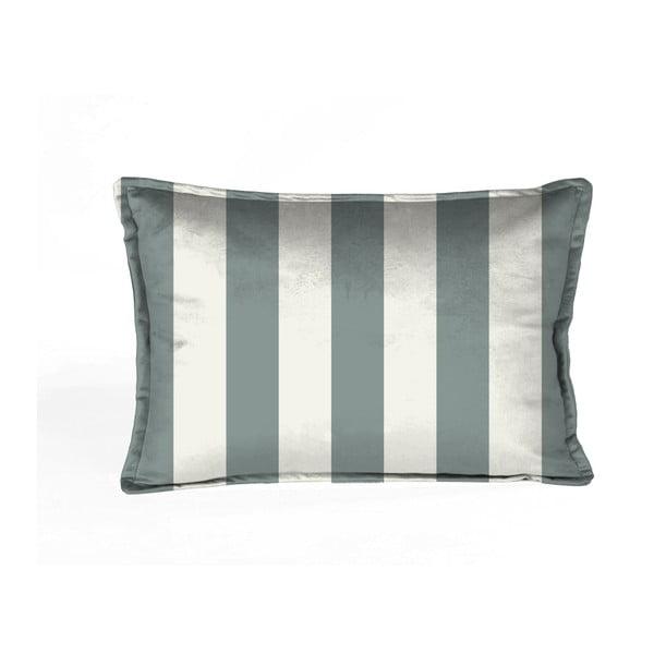 Față de pernă decorativă Velvet Atelier Stripes, 50 x 35 cm, alb-albastru