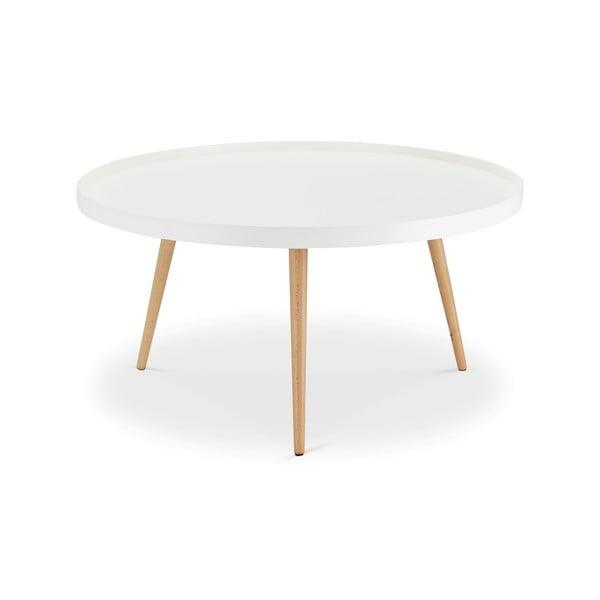 Bílý konferenční stolek s nohami z bukového dřeva Furnhouse Opus, Ø90cm