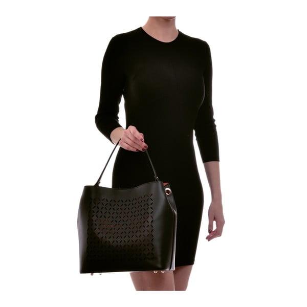 Černá kožená kabelka Luisa Vannini Rena