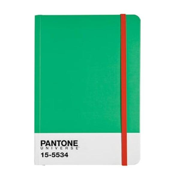 Zápisník A4 s barevnou gumičkou Fern Green/Poppy Red 15-1534