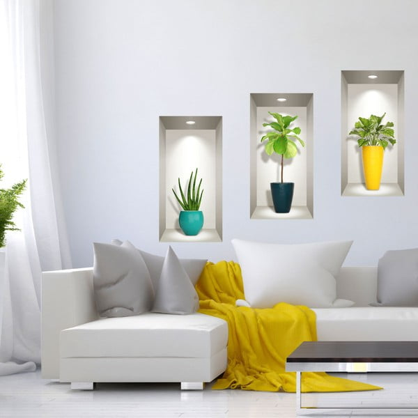 Set 3 autocolante 3D pentru perete Ambiance Southern Plants