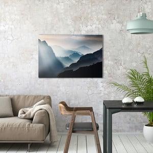 Skleněný obraz OrangeWallz Misty Mountains, 60 x 90 cm