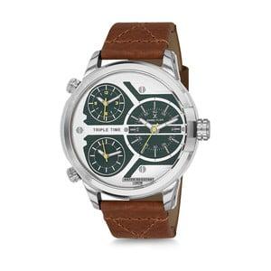 Pánské hodinky s hnědým koženým řemínkem Daniel Klein Moto