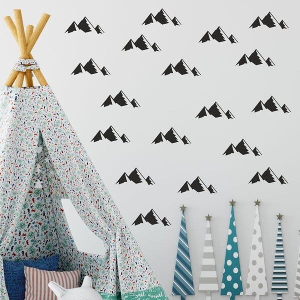 Set autocolante de perete North Carolina Scandinavian Home Decors Mountains, negru