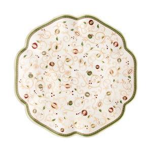 Bílý servírovací talíř s vánočním motivem Brandani Tempo di Festa, ⌀31cm