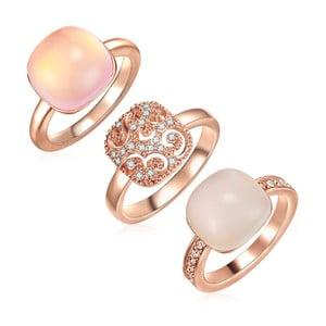 Sada 3 prstenů s krystaly Swarovski Lilly & Chloe Christia, vel.50