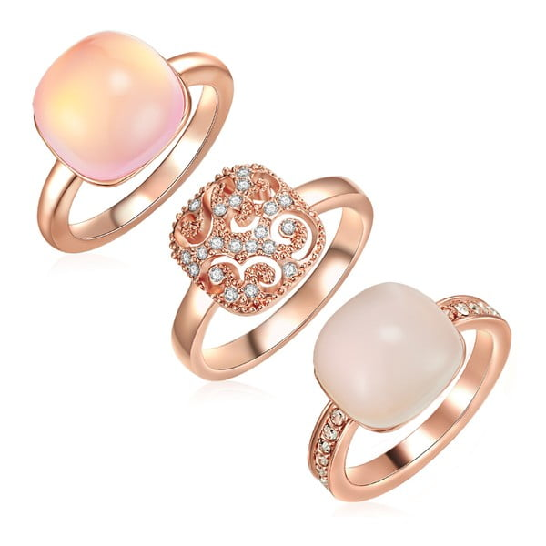 Sada 3 prstenů s krystaly Swarovski Lilly & Chloe Christia, vel.60