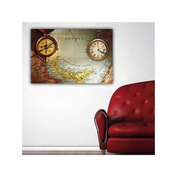 Obraz s hodinami Cestovatelská mapa, 60x40 cm