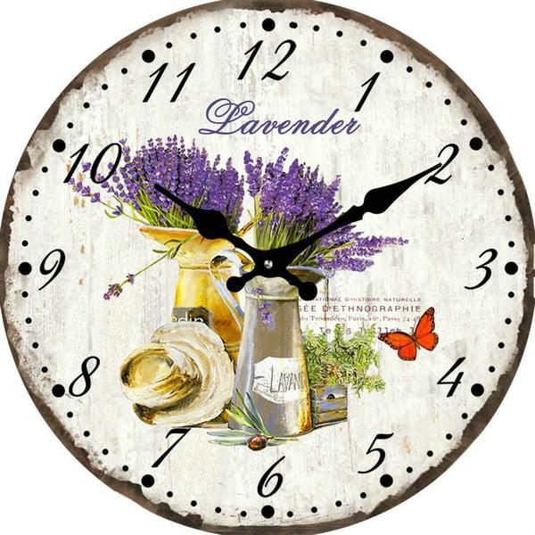 Skleněné hodiny Levandule, 38 cm