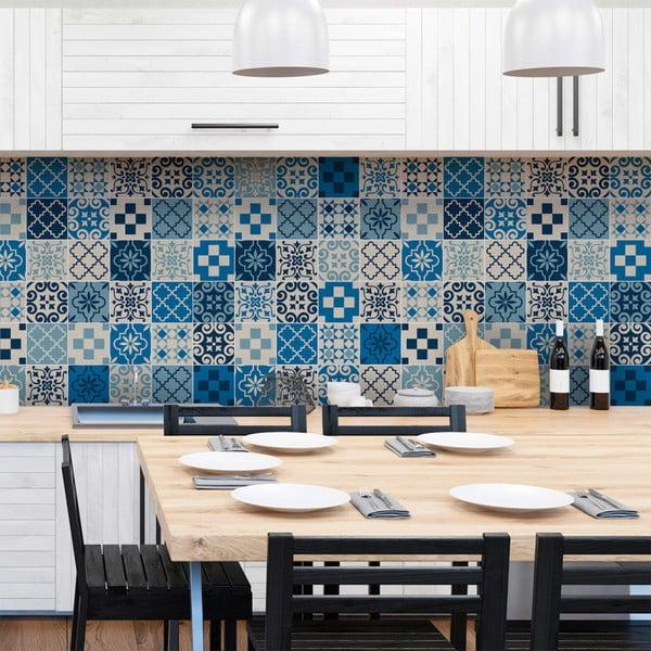 Set 60 autocolante de perete Ambiance Tiles Azulejos Caralinera, 15 x 15 cm