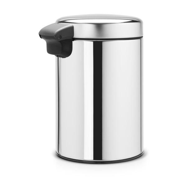 Lesklý nástěnný odpadkový koš ve stříbrné barvě Brabantia Newicon, 3l