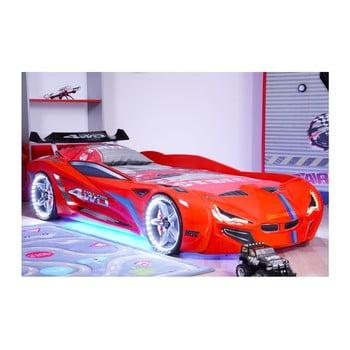 Pat în formă de automobil cu lumini LED pentru copii Fastero, 90 x 190 cm, roșu de la Musvenus