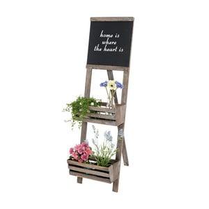 Hnědý dřevěný stojan na květiny s cedulí Mendler Shabby Chic