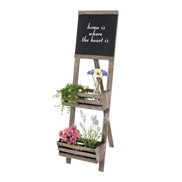 Hnědý stojan na květiny s cedulí Mendler Shabby Chic
