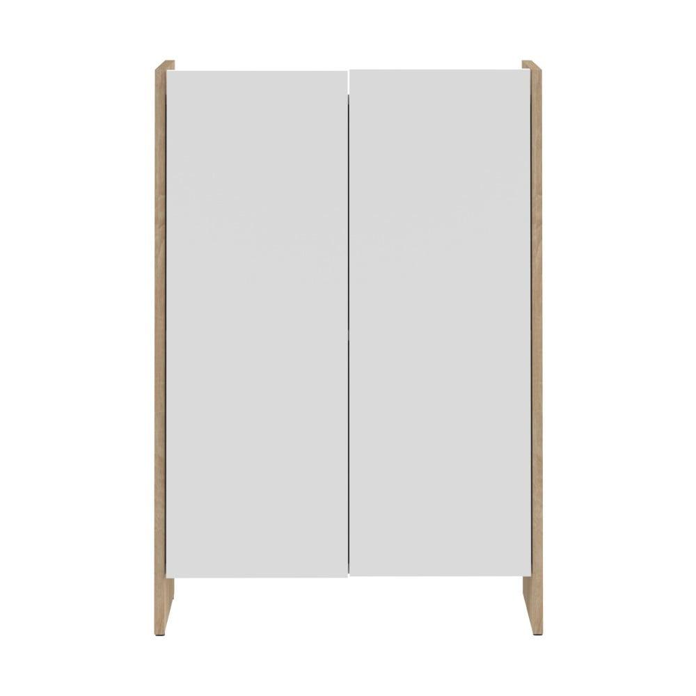 Bílá koupelnová skříňka s hnědým korpusem Symbiosis Auben,výška89,5cm