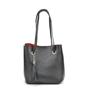 Černá kožená kabelka Mangotti Bags Aurora